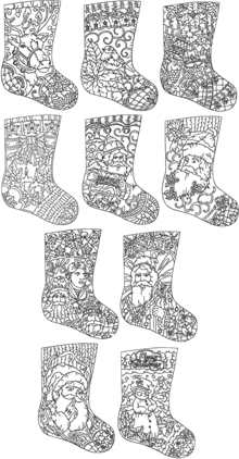 Redwork Christmas Stocking Set