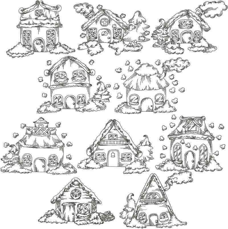 Advanced Embroidery Designs Redwork Christmas Village Set