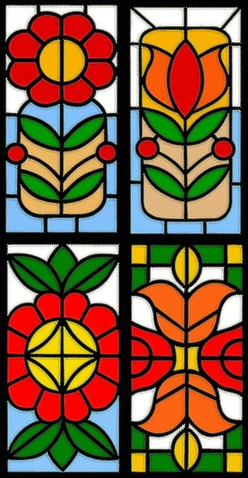 Stained Glass Applique Flower Block Set