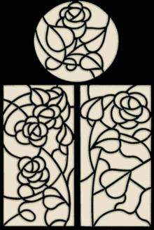 Stained Glass One-Color Applique Rose Panels