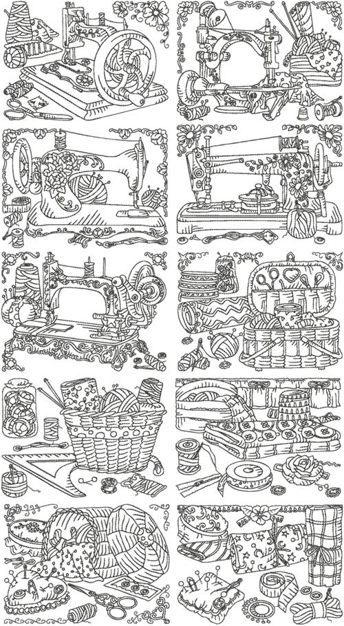 Advanced Embroidery Designs One Color Antique Sewing Machine Set