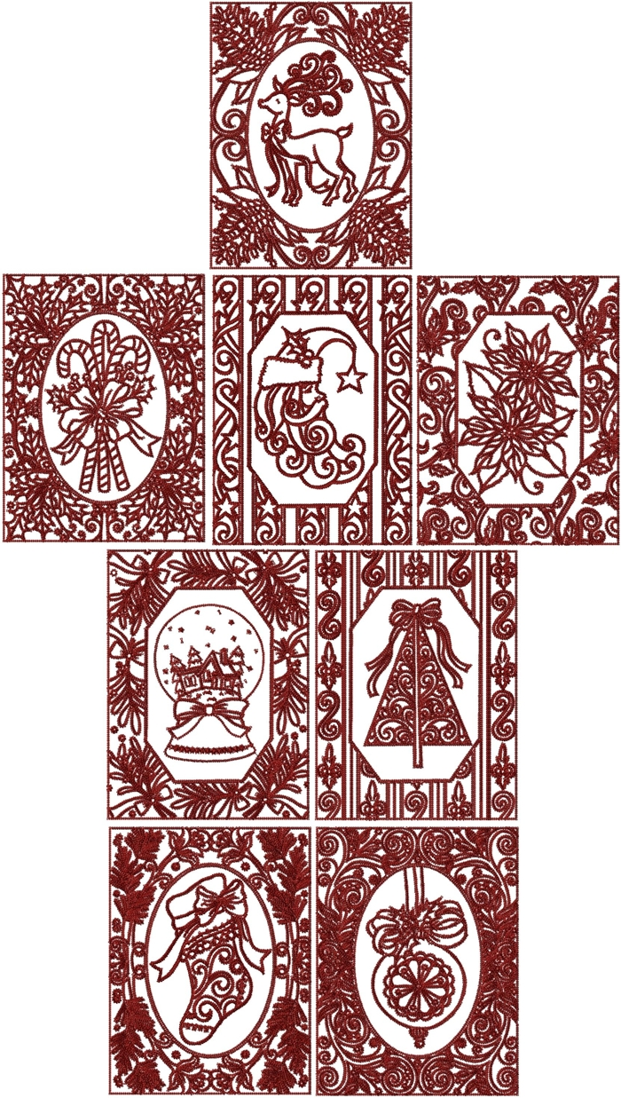 Advanced Embroidery Designs - One-Color Christmas Card Set
