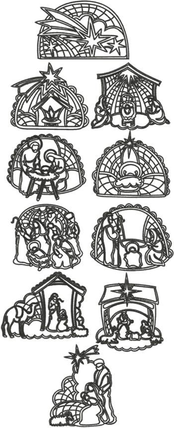 One-Color Nativity Set