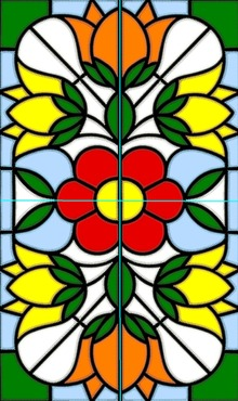 Stained Glass Applique Flower Panel