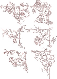 Redwork Flower Corner Set