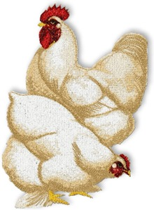 White Cochins chicken set for machine embroidery