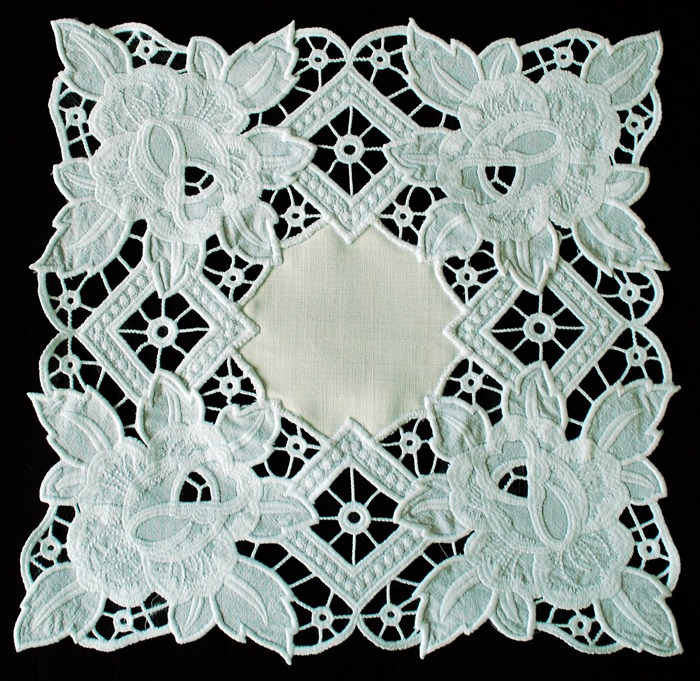 Advanced embroidery designs cutwork lace rose doily