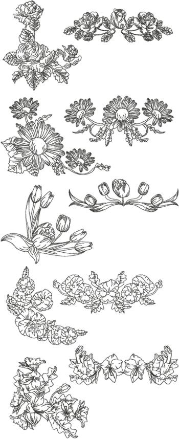 One-Color Flower Border Set
