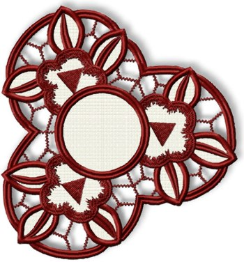 3 Flowers Cutwork Doily