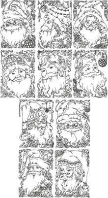 One-Color Santa Postcard Set