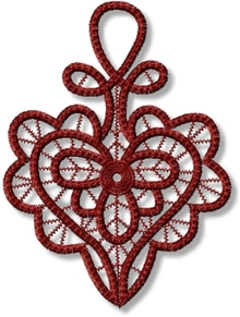 Freestanding Point Lace design in heart shape.