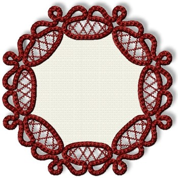 Freestanding Applique Point Lace Doily