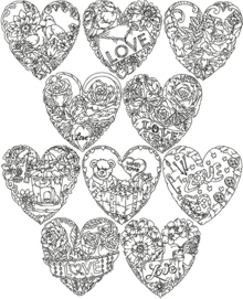 One-Color Valentine Heart Set