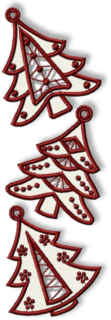 Cutwork Lace Christmas Tree Set