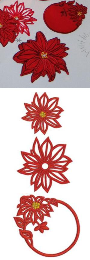 3D Poinsettia Applique and Doily Set