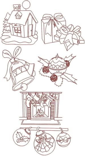 Christmas Redwork Set IV