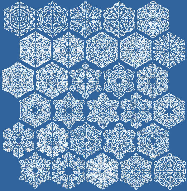 Advanced Embroidery Designs Snowflake Bluework Set