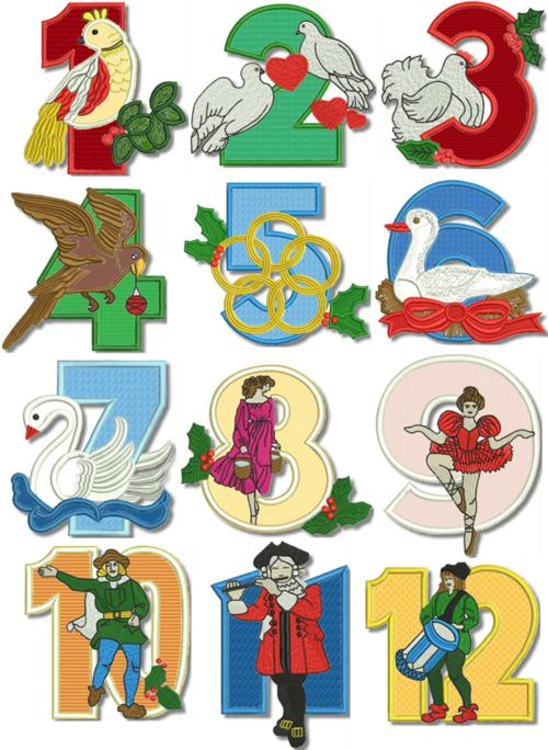 12 days of christmas applique set - 12 Days Of Christmas Decorations