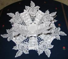 Rose Lace Bowl and Doily Set