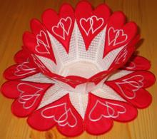 Valentine Applique Bowl and Doily Set