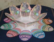 Organza Easter Bunny Bowl and Doily Set