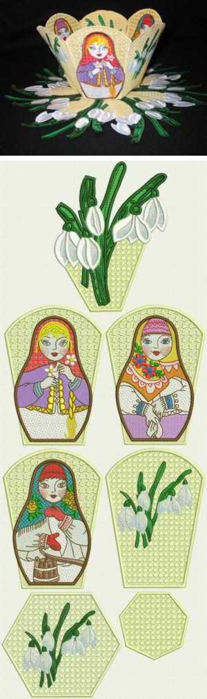 Russian Doll Bowl with Snowdrop Doily