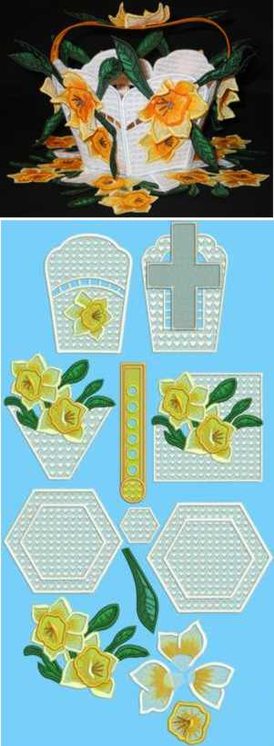 3D Easter Daffodil Basket and Doily Set