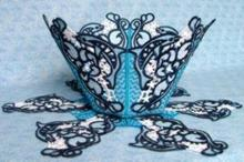 Dolphin Bowl, Basket and Doily Set
