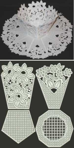 Flower Bed Bowl and Doily Set