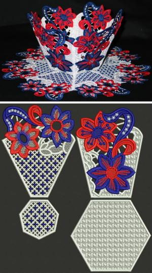Patriotic Bowl and Doily Set