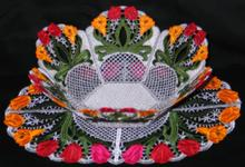 Tulip Bouquet Bowl and Doily Set