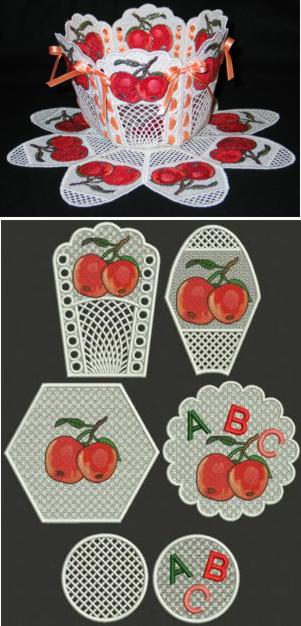 Apple Bowl and Doily Set