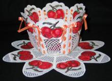 Freestanding lace bowl and doilly with apple embroidery