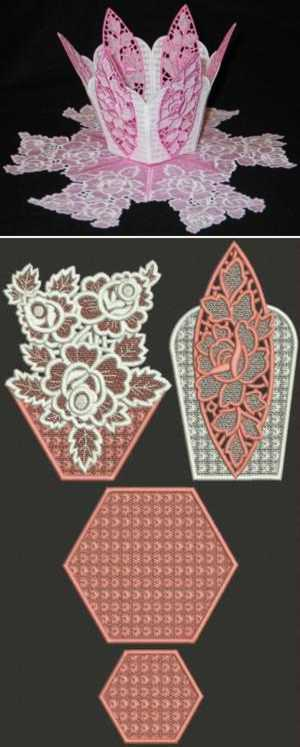 Victorian Rose Bowl and Doily Set