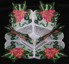 Begonia Blossom Bowl and Doily Set