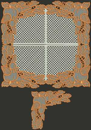 Pumpkin Doily and Lace Set