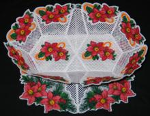 Poinsettia Oval Bowl and Doily Set