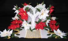 3D Poinsettia Bowl, Doily and Bottle Apron Set