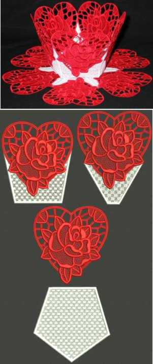 Valentine Rose Bowl and Doily Set