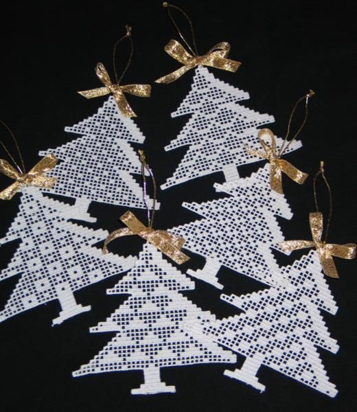 Advanced Embroidery Designs Fsl Crochet Christmas Tree Ornament Set
