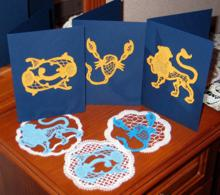 FSL Battenberg Zodiac Doily and Sign Set