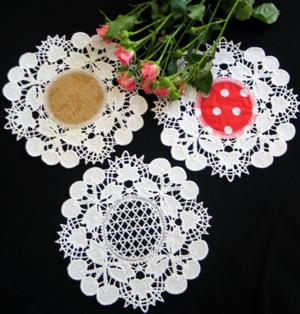 FSL Battenberg Cherry Lace Doily Set