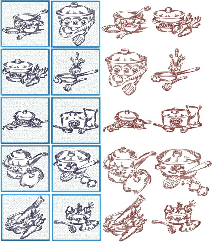 Advanced Embroidery Designs Kitchen Quilt Block Set