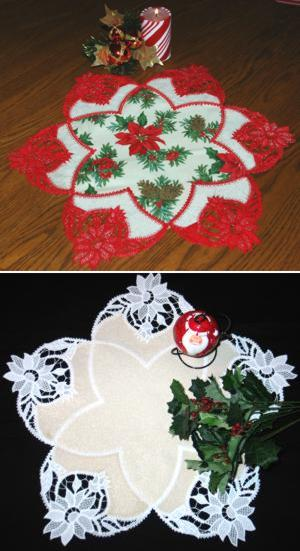 FSL Battenberg Poinsettia Applique Doily