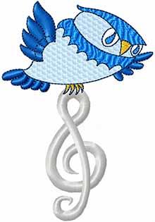A cartoon owl carrying a trebele clef