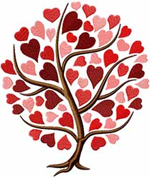 Design in a tree shape with hearts as folliage.