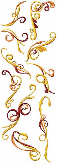 Golden Swirls Set of 10 Machine Embroidery Designs