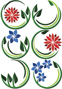 Art Nouveau Flower Motif Set