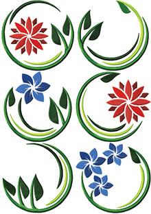 Art Nouveau Flower Motif Set of 6 Machine Embroidery Designs