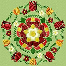 Tudor Rose Motif Machine Embroidery Design